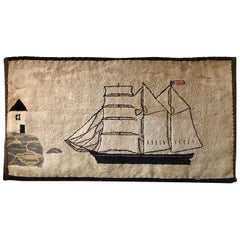 Late 19th Century New England Ship and Lighthouse Hooked Rug