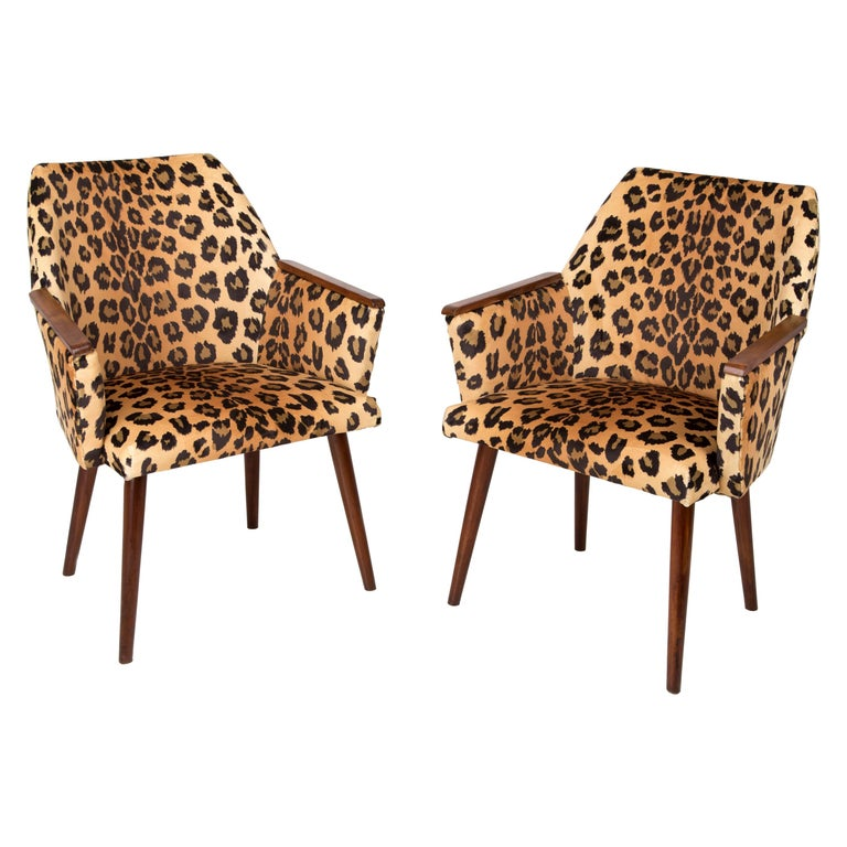 Set of Two Mid-Century Modern Leopard Print Chairs, 1960s, Germany For Sale