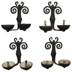 Superbe French Pairs of Iron Sconces