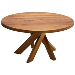Pierre Chapo T21D Round Dining Table in Solid Elm, France 1960s