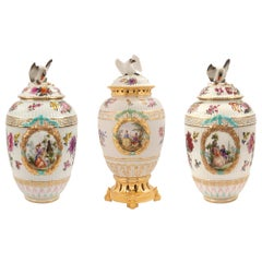 Set of Three German 19th Century Porcelain and Ormolu Lidded Urns