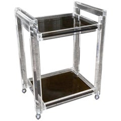 Lucite 2-Tier Smoke Glass Bar Cart