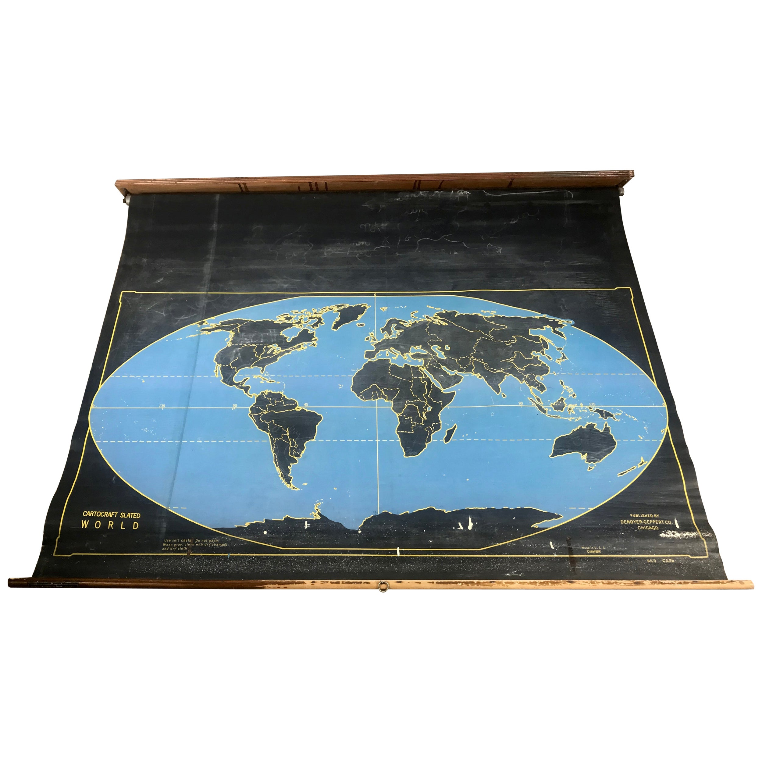1920s Double Sided Cartocraft Slated Map, U.S.A. and World ... on