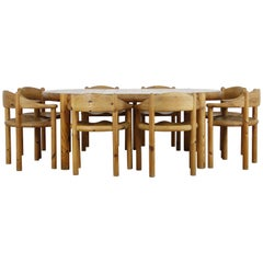 1960s Rainer Daumiller Pine Dining Set-Table and 8 Chairs