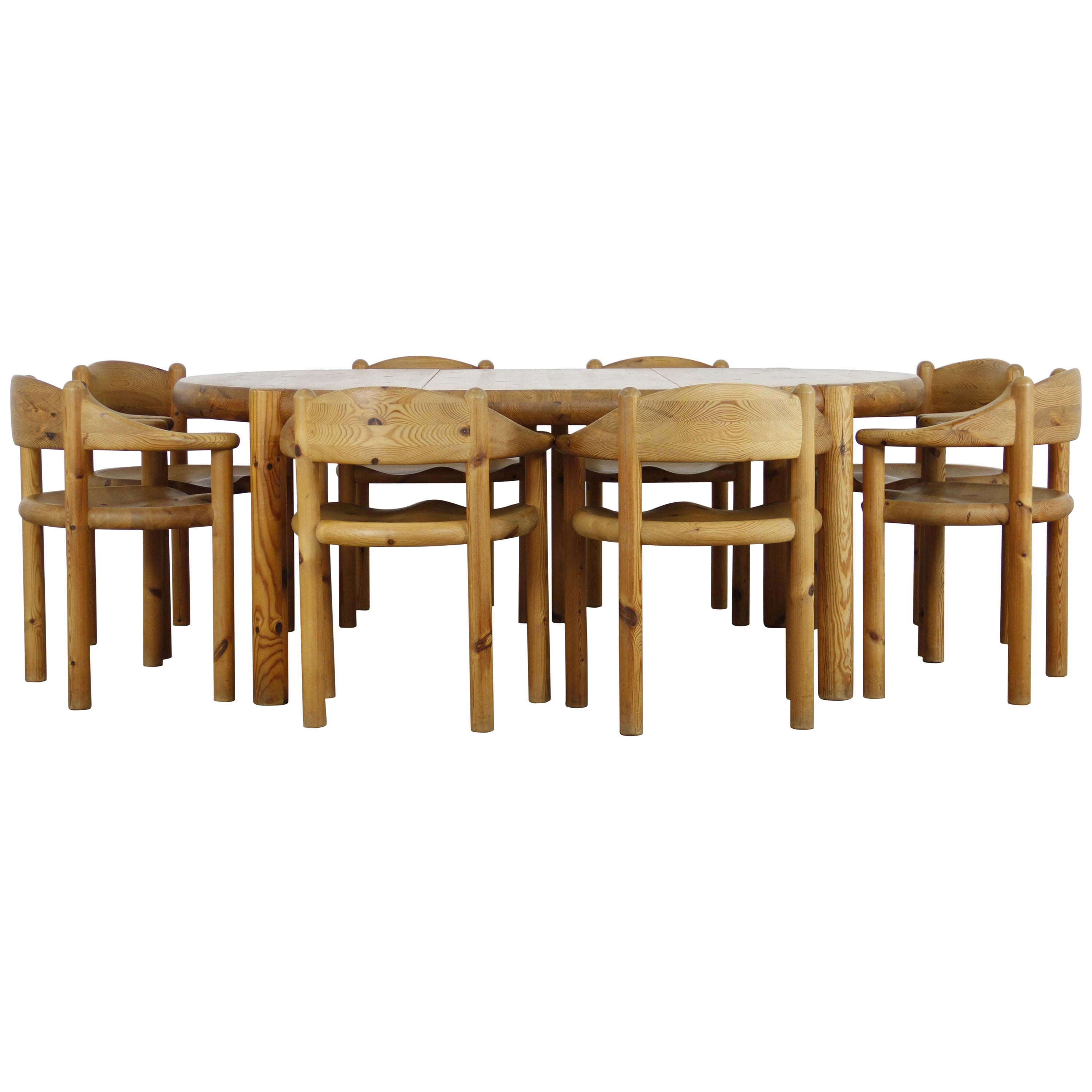 Exceptionnel 1960s Rainer Daumiller Pine Dining Set Table And 8 Chairs