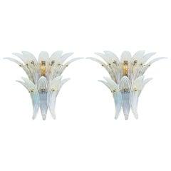 Two Pairs of Opaline Palmette Sconces by Fabio Ltd