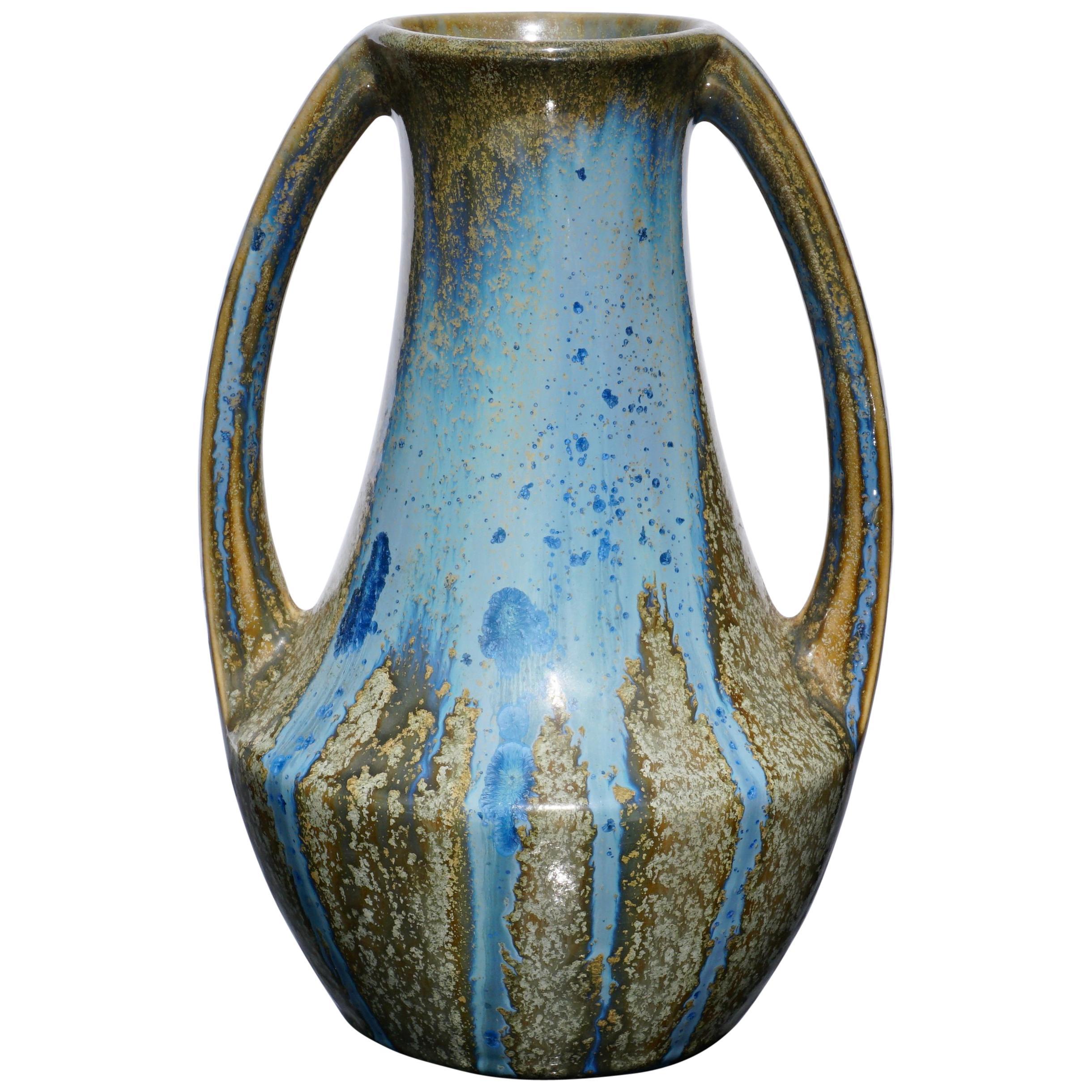 Pierrefonds Crystalline Art Nouveau Handled Vase