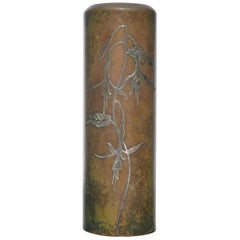 Heintz Art Metal Shop Arts & Crafts Tall Sterling on Bronze Vase