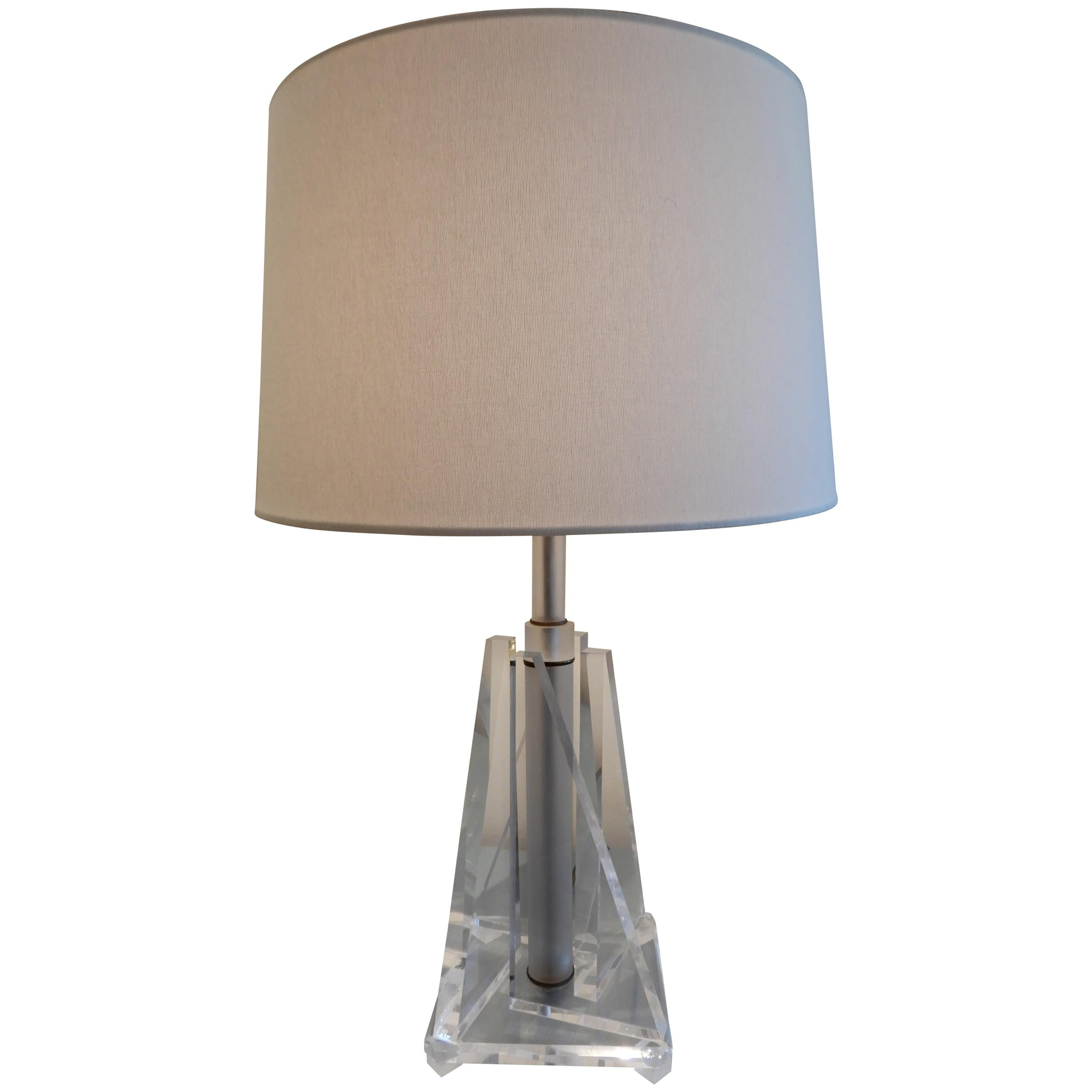 Pair of Midcentury Lucite Table Lamps