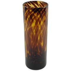 Italian Empoli for Christian Dior Tortoiseshell Glass Tall Tumbler Vase
