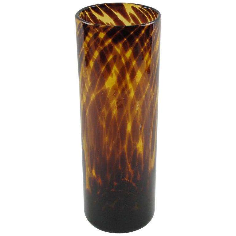 Christian Dior Tortoiseshell Glass Tumbler Vase For Sale