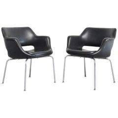 Olli Mannermaa Pair of Leather Kilta Chair by Eugen Schmidt & Cassina Martela