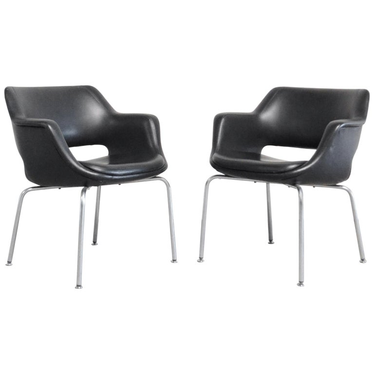 Olli Mannermaa Pair of Leather Kilta Chair by Eugen Schmidt & Cassina Martela For Sale