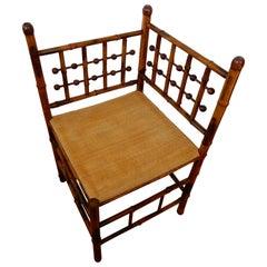 Americana Stick and Ball Bamboo Corner Chair, circa 1890s
