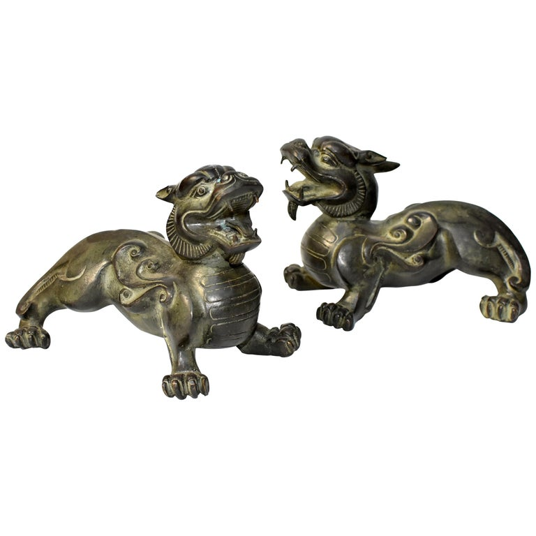 Pair of Large Bronze Pixiu Lions with Turtle Shells, Doorstops, Paperweights For Sale