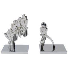 French Art Deco Signed Chrome Metal Bird Bookends