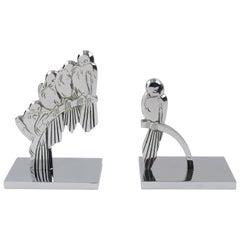 Französische Art Deco signiert Chrom Metall Vogel Buchstützen