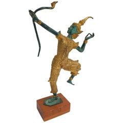 Vintage Bronze Gold and Green Thai Figurine of Prince Rama with a Bow