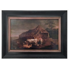 Dutch Old Master Painting Barnyard with Farm Animals