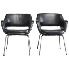 Olli Mannermaa Pair of Leather Kilta Chair by Eugen Schmidt & Cassina Martela