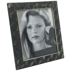 R&Y Augousti Paris Shagreen Marquetry Picture Photo Frame Marble Metal Details