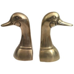 Pair of Vintage Polished Cast Brass Duck Bookends, circa 1950