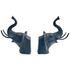 Pair of Cast Iron Elephant Heads Bookends