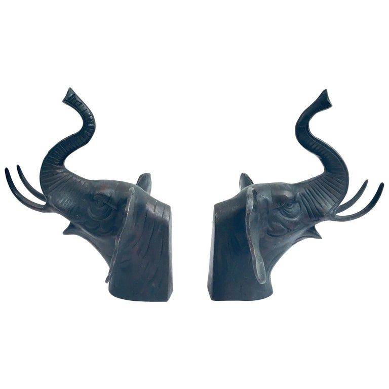 Pair of Cast Iron Elephant Heads Bookends For Sale