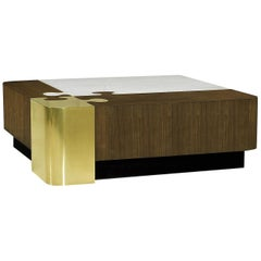 Luxury Coffee Table with Puzzle-Inspired Design in Walnut Brass & Carrara Marble