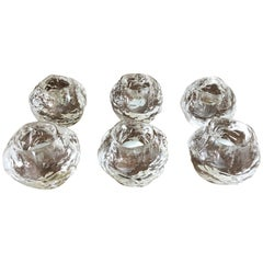 Set 6 Art Glass Snowball Votive Candleholders by Kosta Boda for Orrefors