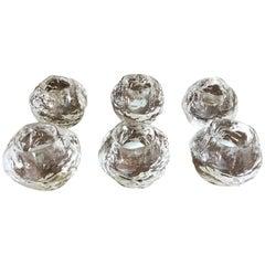 Set 6 Kunstglas Schneeball Motiv Kerzenständer von Kosta Boda für Orrefors