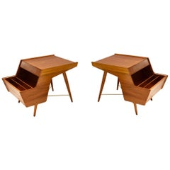 Pair of Side Tables with Magazine Holders, USA, circa 1955