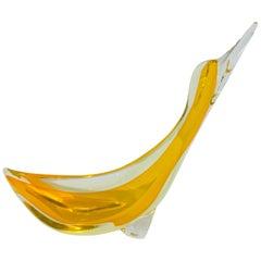 Orange Murano Glass Duck