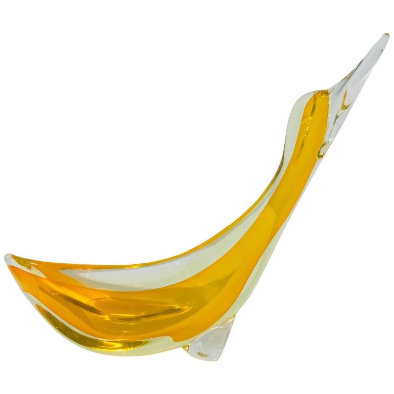 Orange Murano Glass Duck For Sale