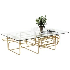 Loop, Contemporary Rectangular Coffee Table with Glass Top & Gold Geometric Base