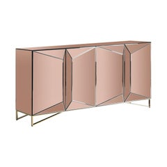 Copper Colored Mirrored and Chrome Design Sideboard