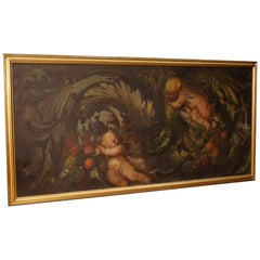20th Century Oil On Canvas Italian Painting Depicting Little Angles, 1960