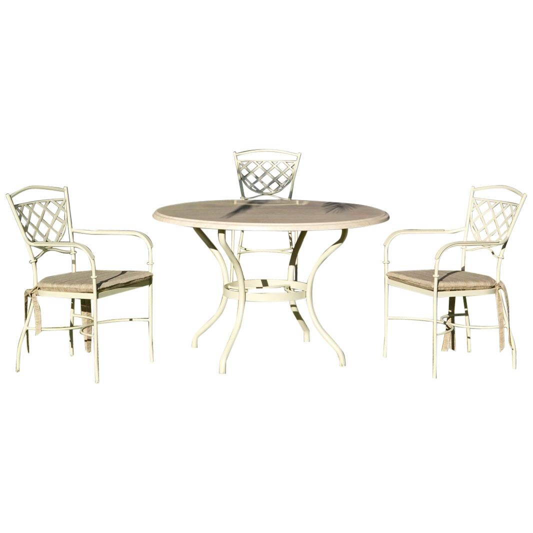 Set of Wrought Iron Dining Table and Armchairs, Garden or Patio Furniture