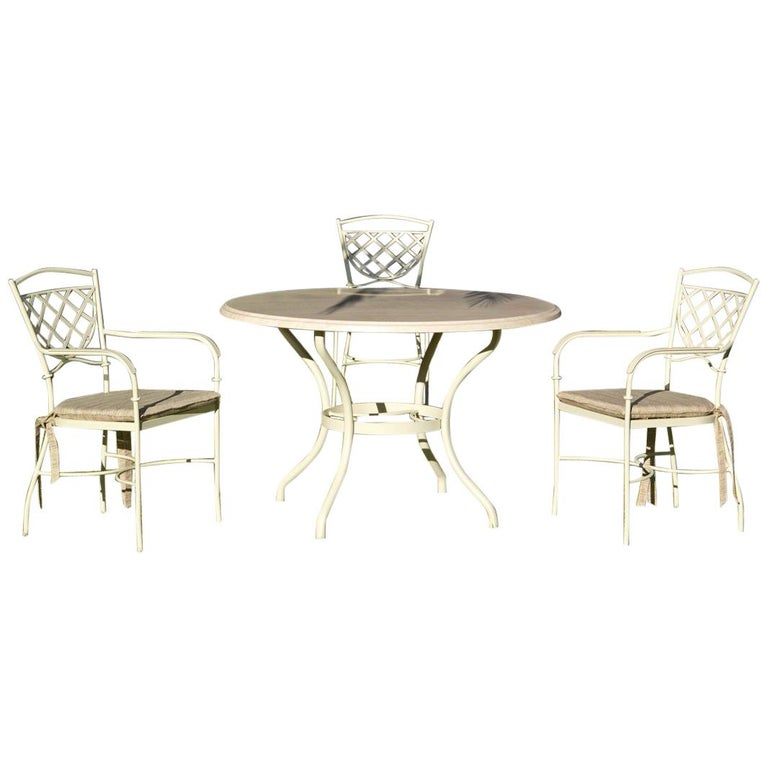 Set of Wrought Iron Dining Table and Armchairs, Garden or Patio Furniture For Sale