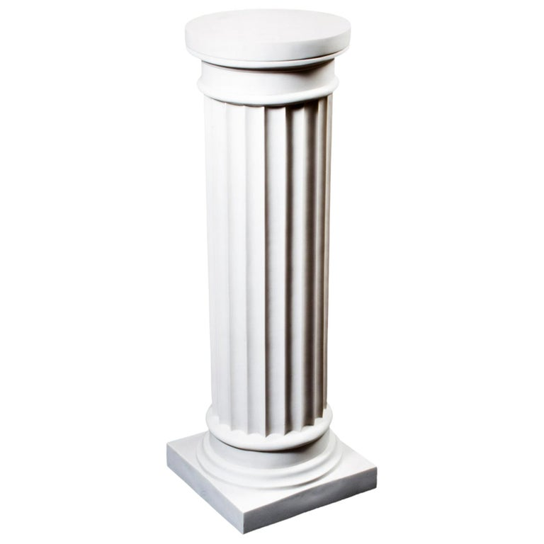 Elegant Grecian Marble Doric Column Pedestal For Sale