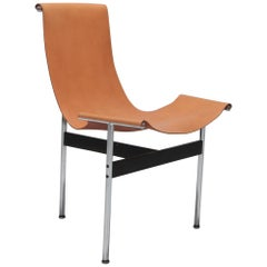 Laverne International T Chair in Natural Cognac Leather by Ross Littel