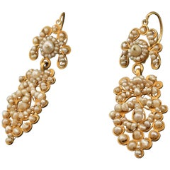 Pair of Earrings, Gold, Pearl, circa Late 19th Century