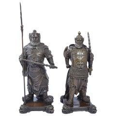 Pair of Bronze Chinese Warriors