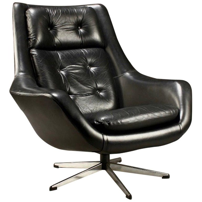 Black Leather Swivel Armchair by Henry Walter Klein for ...