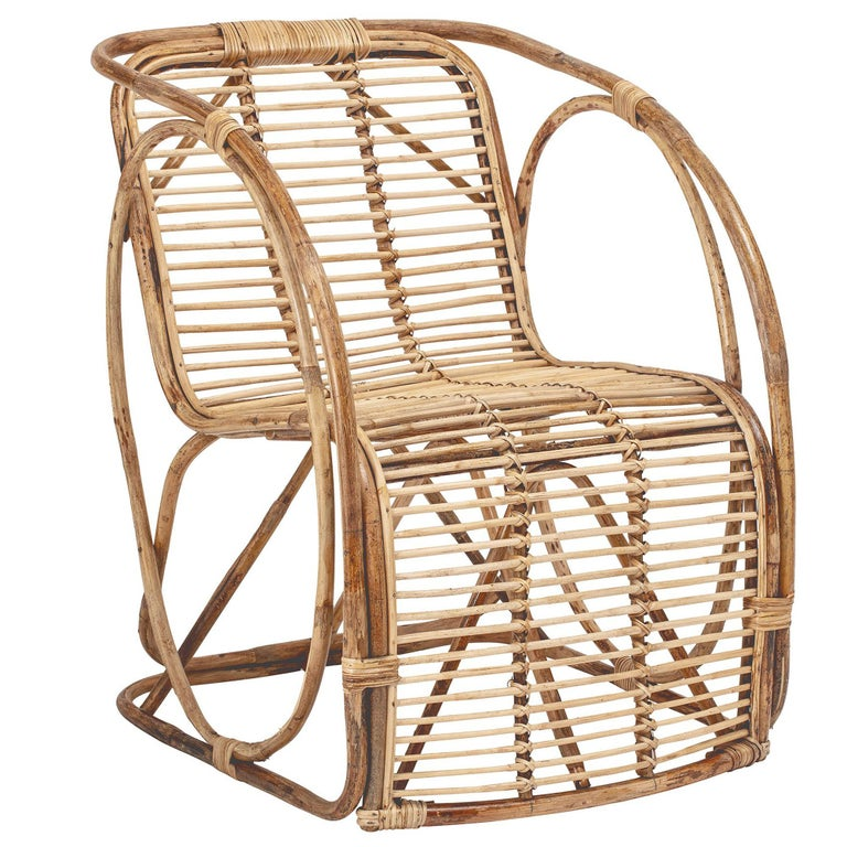 Natural Cane Wicker Lounge Armchair For Sale