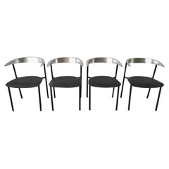 Minimalist Metal Armchairs, Cowhorn Chairs in Style of Borek Sipek
