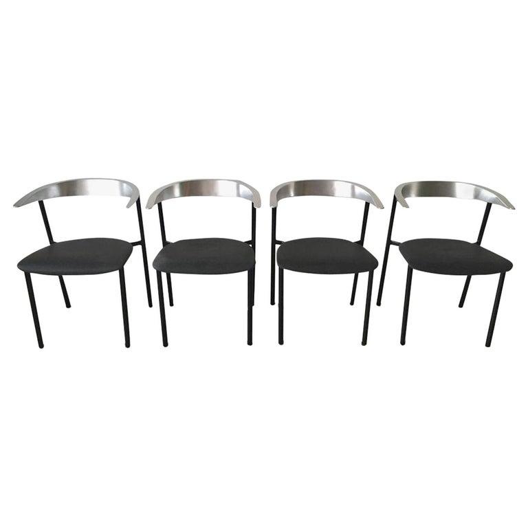 Minimalist Metal Armchairs, Cowhorn Chairs in Style of Borek Sipek For Sale
