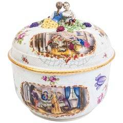 Magnificent Dresden Style Hand Painted Porcelain Tureen