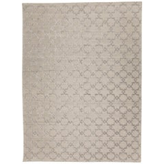 Geometric Rug, Soft Gray Design, Silk and Wool