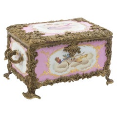 Lovely Hand Painted Sevres Style Porcelain Casket Pink